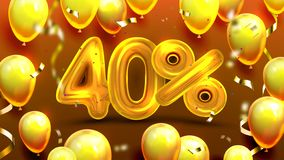 Forty Percent Or 40 Marketing Sale Offer Vector. Business Store Marketing Discount For Regular Clients Poster With Golden Helium Balloons And Confetti vector illustration