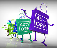 Forty-Percent Off Bags Show 40 Discounts Royalty Free Stock Photography