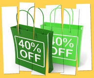 Forty Percent Off On Bags Shows 40 Bargains Royalty Free Stock Images