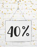 Forty 40 % percent off black friday sale 40% discount golden par. Forty five 40 % percent off black friday sale 40% discount golden party confetti banner royalty free stock photos