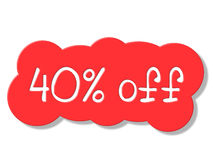 Forty Percent Off Indicates Closeout Cheap And Clearance Royalty Free Stock Photo
