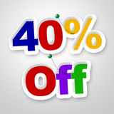 Forty Percent Off Indicates Promotion Retail And Merchandise Royalty Free Stock Images