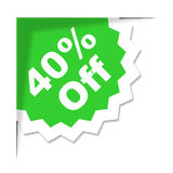 Forty Percent Off Represents Promotional Discount And Discounts Stock Photo