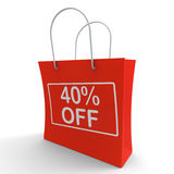 Forty Percent Off Shopping Bag Shows 40 Stock Image