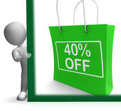 Forty Percent Off Shopping Bag Shows Reduction Stock Photo