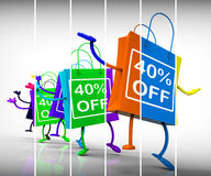 Forty-Percent Off Shopping Bags Show 40 Discounts Stock Photo
