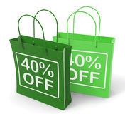Forty Percent Off On Shopping Bags Shows 40 Royalty Free Stock Photo