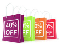 Forty Percent Off Shopping Bags Shows 40 Royalty Free Stock Photography