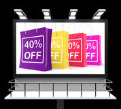 Forty Percent Off Shopping Bags Shows Reduction Royalty Free Stock Photo