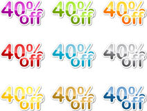 Forty percent off sticker Stock Image