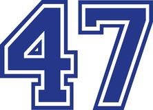 Forty-seven college number 47. Vector Royalty Free Stock Photo