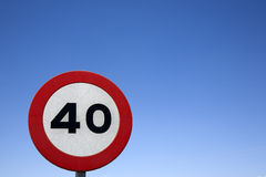 Forty Speed Sign. Against Blue Sky Background royalty free stock photo