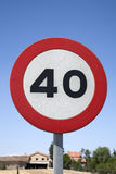 Forty Speed Sign. In a Rural Setting stock photography