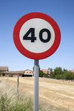 Forty Speed Sign. In a Rural Setting royalty free stock photography