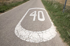 Forty Speed Sign. In a Rural Setting royalty free stock photos