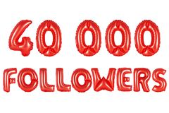 Forty thousand followers, red color Stock Photo