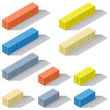 Forty and twenty foot sea containers of different colors isometric icons set Stock Photography