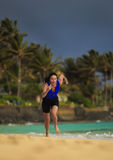 Forty Year Old Female Triathlete Running Stock Images