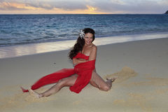 Forty year old woman on the beach Royalty Free Stock Photography