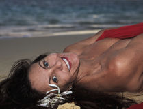 Forty year old woman on the beach Royalty Free Stock Photo