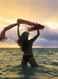 Forty Year Old Woman In The Ocean Stock Image
