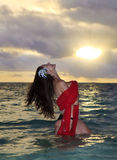 Forty Year Old Woman In The Ocean Royalty Free Stock Photo