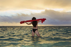 Forty year old woman in the ocean Stock Images