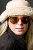 Forty year old woman sunglasses and hat Stock Image