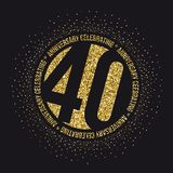 Forty years anniversary celebration logotype. 40th anniversary logo. Vector royalty free illustration