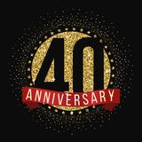 Forty years anniversary celebration logotype. 40th anniversary logo. Vector illustration Royalty Free Stock Photography