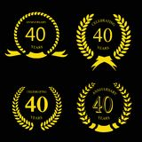 Forty years anniversary laurel gold wreath set Stock Photography