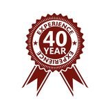 Forty years experience icon, sign, button, 40 years experience stock illustration