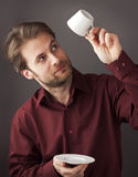 Forty years old business man drinking morning coffee Stock Photo