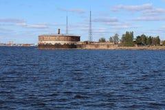 Fortyfikacja w zatoce Finlandia blisko Kronstadt fotografia royalty free