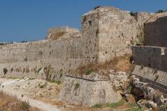 Fortyfikacje Rhodes UNESCO dziedzictwa miasteczko na Rhodes wyspie Zdjęcie Royalty Free