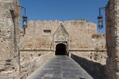 Fortyfikacje Rhodes UNESCO dziedzictwa miasteczko na Rhodes wyspie Fotografia Royalty Free