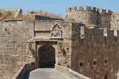 Fortyfikacje Rhodes UNESCO dziedzictwa miasteczko na Rhodes wyspie Fotografia Stock