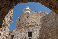 Fortyfikacje Rhodes UNESCO dziedzictwa miasteczko na Rhodes wyspie Zdjęcia Stock
