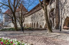Fortyfikacji ściana w starym centrum Tallinn zdjęcia stock