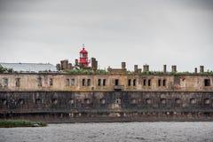 Fortyfikacyjny budynek w porcie morskim Obraz Stock