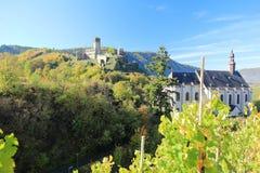 Fortyfikacyjny Metternich Beilstein najlepszy miejsce na Moselle rzece Mosel Palatinate, Niemcy fotografia royalty free
