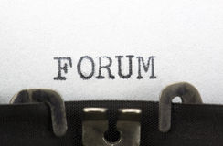 Forum. Typewriter close-up shot, concept of Forum Royalty Free Stock Photo