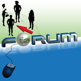 Forum. Abstract colorful illustration with group of people, blue computer mouse, red arrow and the word forum written with blue capital letters. Forum concept Royalty Free Stock Photo