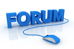 Forum. Text and computer mouse. 3D render Royalty Free Stock Photo