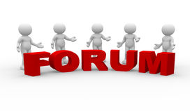 Forum. 3d people - human character. Five men talking and word Forum. 3d render illustration Stock Photography
