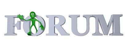 Forum. Green guy and the word forum - 3d illustration Royalty Free Stock Photography