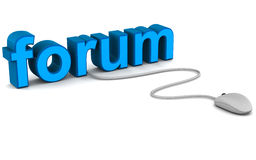 Forum. Online forum for discussion on different topics, forum and community online concept with computer mouse connected to text Stock Photography