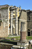 Forum of Augustus columns in the center of Rome Royalty Free Stock Images