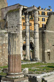 Forum of Augustus columns in the center of Rome Stock Images