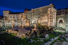Forum of Augustus at night in Rome, Italy. stock photos